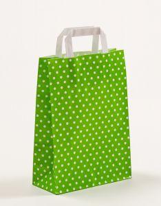 Papiertragetaschen mit Flachhenkel Punkte grün 22 x 10 x 31 cm, 025 Stück