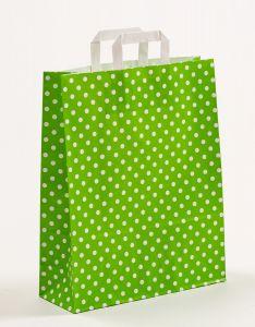 Papiertragetaschen mit Flachhenkel Punkte grün 32 x 12 x 40 cm, 100 Stück