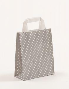 Papiertragetaschen mit Flachhenkel Punkte grau 18 x 8 x 22 cm, 100 Stück