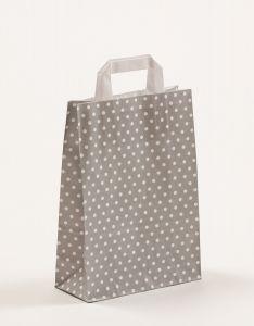 Papiertragetaschen mit Flachhenkel Punkte grau 22 x 10 x 31 cm, 100 Stück
