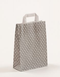 Papiertragetaschen mit Flachhenkel Punkte grau 22 x 10 x 31 cm, 150 Stück