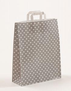 Papiertragetaschen mit Flachhenkel Punkte grau 32 x 12 x 40 cm, 150 Stück