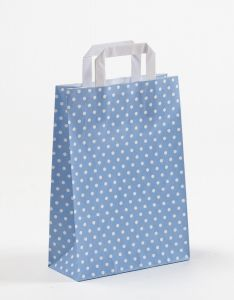 Papiertragetaschen mit Flachhenkel Punkte hellblau 22 x 10 x 31 cm, 100 Stück