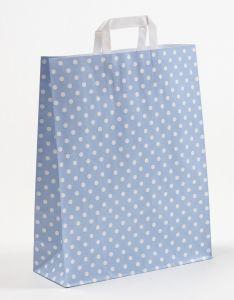 Papiertragetaschen mit Flachhenkel Punkte hellblau 32 x 12 x 40 cm, 150 Stück