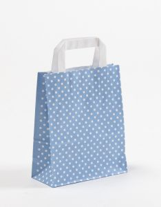 Papiertragetaschen mit Flachhenkel Punkte hellblau 18 x 8 x 22 cm, 150 Stück