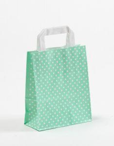 Papiertragetaschen mit Flachhenkel Punkte mint 18 x 8 x 22 cm, 100 Stück