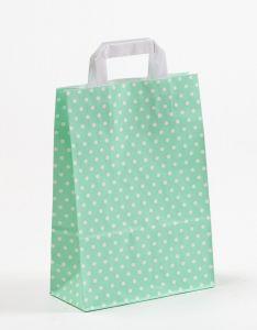 Papiertragetaschen mit Flachhenkel Punkte mint 22 x 10 x 31 cm, 025 Stück
