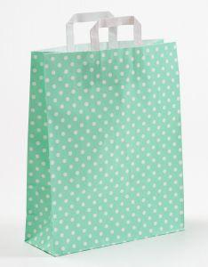 Papiertragetaschen mit Flachhenkel Punkte mint 32 x 12 x 40 cm, 050 Stück