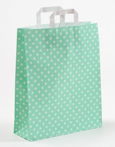 Papiertragetaschen mit Flachhenkel Punkte mint 32 x 12 x 40 cm, 100 Stück