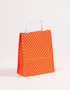 Papiertragetaschen mit Flachhenkel Punkte orange 18 x 8 x 22 cm, 025 Stück