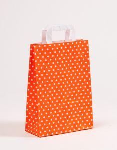 Papiertragetaschen mit Flachhenkel Punkte orange 22 x 10 x 31 cm, 025 Stück