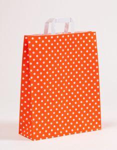 Papiertragetaschen mit Flachhenkel Punkte orange 32 x 12 x 40 cm, 100 Stück