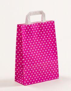 Papiertragetaschen mit Flachhenkel Punkte pink 22 x 10 x 31 cm, 100 Stück