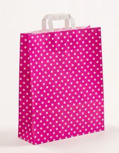 Papiertragetaschen mit Flachhenkel Punkte pink 32 x 12 x 40 cm, 100 Stück