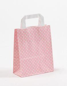 Papiertragetaschen mit Flachhenkel Punkte rosa 18 x 8 x 22 cm, 150 Stück