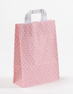 Papiertragetaschen mit Flachhenkel Punkte rosa 22 x 10 x 31 cm, 100 Stück
