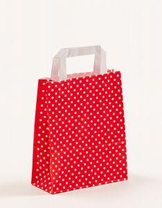 Papiertragetaschen mit Flachhenkel Punkte rot 18 x 8 x 22 cm, 100 Stück