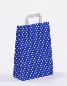 Papiertragetaschen mit Flachhenkel Punkte blau 22 x 10 x 31 cm, 100 Stück