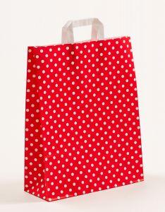 Papiertragetaschen mit Flachhenkel Punkte rot 32 x 12 x 40 cm, 050 Stück