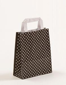 Papiertragetaschen mit Flachhenkel Punkte schwarz 18 x 8 x 22 cm, 200 Stück