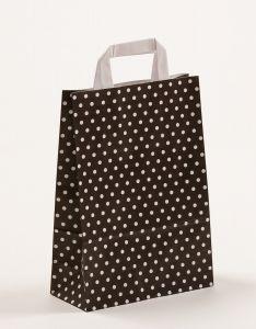 Papiertragetaschen mit Flachhenkel Punkte schwarz 22 x 10 x 31 cm, 050 Stück