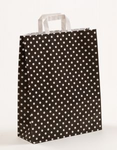 Papiertragetaschen mit Flachhenkel Punkte schwarz 32 x 12 x 40 cm, 050 Stück
