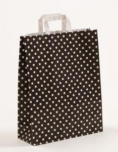 Papiertragetaschen mit Flachhenkel Punkte schwarz 32 x 12 x 40 cm, 100 Stück