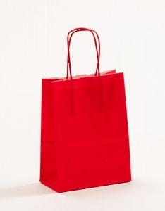 Papiertragetaschen mit gedrehter Papierkordel rot 15 x 8 x 20 cm, 150 Stück