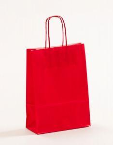 Papiertragetaschen mit gedrehter Papierkordel rot 18 x 8 x 25 cm, 025 Stück