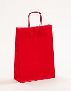 Papiertragetaschen mit gedrehter Papierkordel rot 23 x 10 x 32 cm, 025 Stück