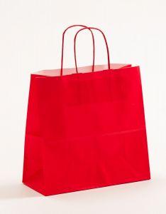 Papiertragetaschen mit gedrehter Papierkordel rot 25 x 11 x 24 cm, 100 Stück