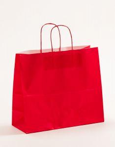Papiertragetaschen mit gedrehter Papierkordel rot 32 x 13 x 28 cm, 100 Stück