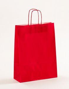 Papiertragetaschen mit gedrehter Papierkordel rot 32 x 13 x 42,5 cm, 100 Stück