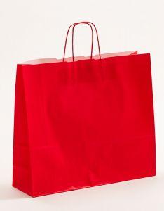 Papiertragetaschen mit gedrehter Papierkordel rot 42 x 13 x 37 cm, 150 Stück
