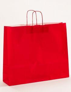 Papiertragetaschen mit gedrehter Papierkordel rot 54 x 14 x 45 cm, 125 Stück