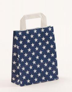Papiertragetaschen mit Flachhenkel Sterne blau 18 x 8 x 22 cm, 100 Stück