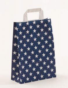 Papiertragetaschen mit Flachhenkel Sterne blau 22 x 10 x 31 cm, 100 Stück