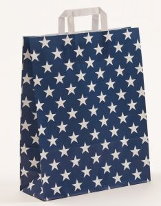 Papiertragetaschen mit Flachhenkel Sterne blau 32 x 12 x 40 cm, 100 Stück