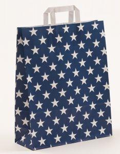 Papiertragetaschen mit Flachhenkel Sterne blau 32 x 12 x 40 cm, 200 Stück