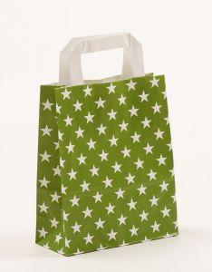 Papiertragetaschen mit Flachhenkel Sterne grün 18 x 8 x 22 cm, 025 Stück