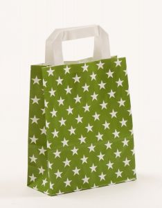 Papiertragetaschen mit Flachhenkel Sterne grün 18 x 8 x 22 cm, 200 Stück