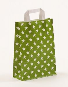 Papiertragetaschen mit Flachhenkel Sterne grün 22 x 10 x 31 cm, 025 Stück