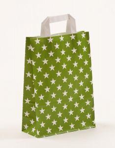 Papiertragetaschen mit Flachhenkel Sterne grün 22 x 10 x 31 cm, 150 Stück