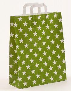 Papiertragetaschen mit Flachhenkel Sterne grün 32 x 12 x 40 cm, 150 Stück