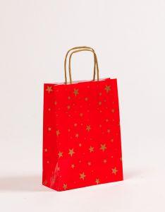 Papiertragetaschen mit gedrehter Papierkordel Weihnachten Sterne 18 x 7 x 24 cm, 100 Stück
