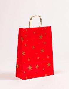 Papiertragetaschen mit gedrehter Papierkordel Weihnachten Sterne 24 x 10 x 31 cm, 100 Stück