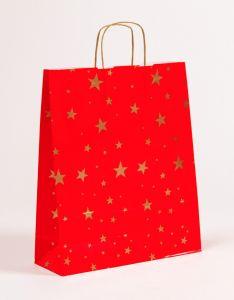 Papiertragetaschen mit gedrehter Papierkordel Weihnachten Sterne 36 x 12 x 41 cm, 025 Stück