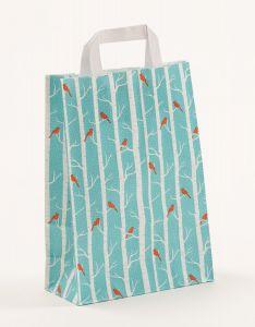 Papiertragetaschen mit Flachhenkel Winterbirds 22 x 10 x 31 cm, 100 Stück