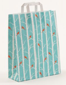 Papiertragetaschen mit Flachhenkel Winterbirds 32 x 12 x 40 cm, 100 Stück
