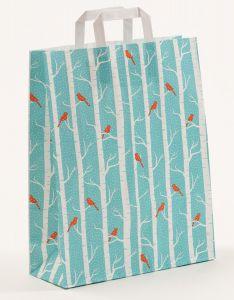 Papiertragetaschen mit Flachhenkel Winterbirds 32 x 12 x 40 cm, 150 Stück